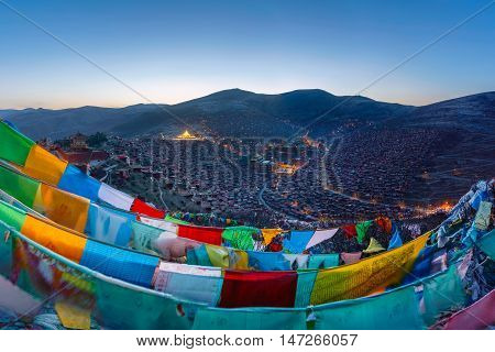 Top view at Larung gar (Buddhist Academy) in Sichuan China