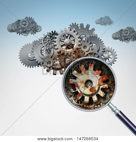 Cloud services problem as a group of gears and cogs shaped as clouds in the sky with a magnifying glass focusing on a rusted decaying part og the machine as an internet and web technology data storage trouble symbol as a 3D illustration.