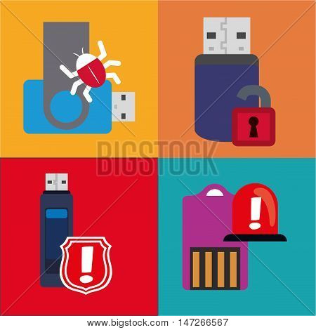 Usb alarm shield padlock and bug icon. Cyber security system and media theme. Colorful design. Vector illustration