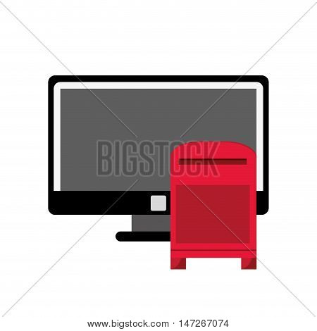 flat design computer and mailbox  icon vector illustration