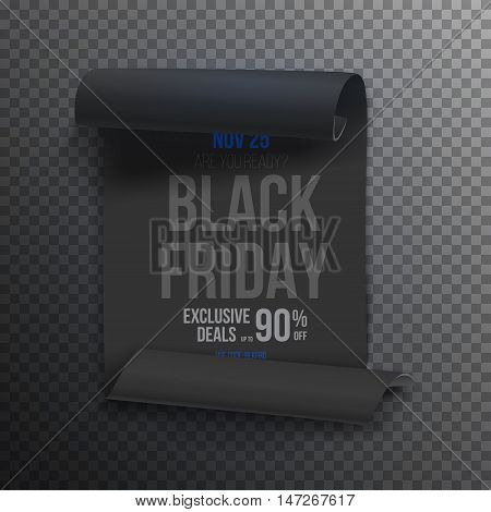 Illustration of Realistic Black Friday Sale Curved Ribbon Banner Template. Folded Paper Scroll Big Sale Banner Black Poster Isolated on Transparent Overlay Style Background