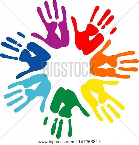 Vector hand prints. Peace and solidaity symbol