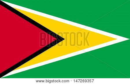 Flag of Guyana in correct size proportions and colors. Accurate official standard dimensions. Guyanan national flag. Patriotic symbol banner element background. Vector illustration