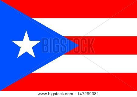 Flag of Puerto Rico in correct size proportions and colors. Accurate official standard dimensions. Puerto Rican national flag. Patriotic symbol banner element background. Vector illustration