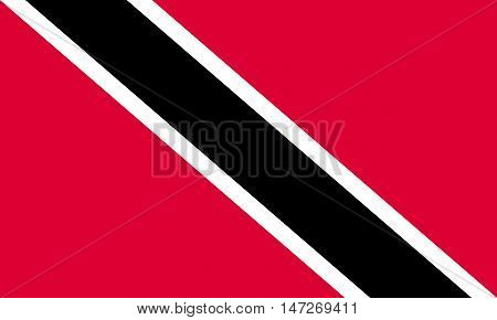 Flag of Trinidad and Tobago in correct size proportions colors. Accurate official standard dimensions. Trinidadian and Tobagonian national flag. Patriotic symbol banner element background. Vector