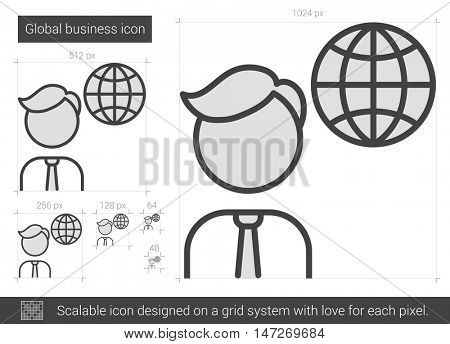 Global business vector line icon isolated on white background. Global business line icon for infographic, website or app. Scalable icon designed on a grid system.