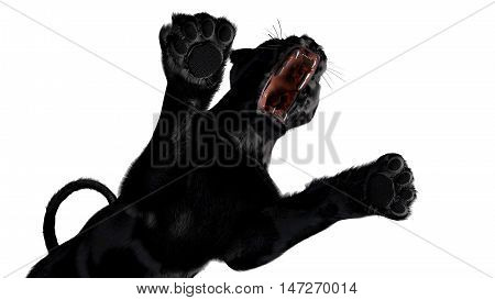 The image of a black panther  3D illustration