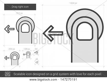 Drag left vector line icon isolated on white background. Drag left line icon for infographic, website or app. Scalable icon designed on a grid system.