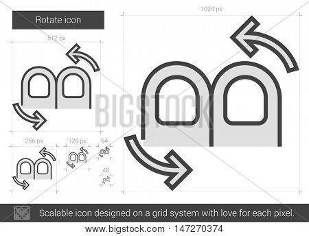 Rotate vector line icon isolated on white background. Rotate line icon for infographic, website or app. Scalable icon designed on a grid system.