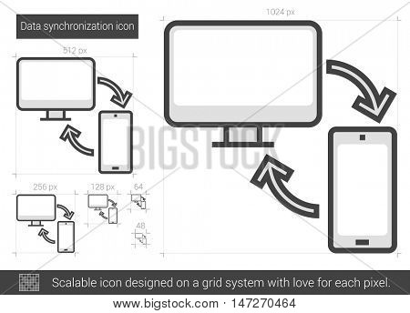 Data synchronization vector line icon isolated on white background. Data synchronization line icon for infographic, website or app. Scalable icon designed on a grid system.