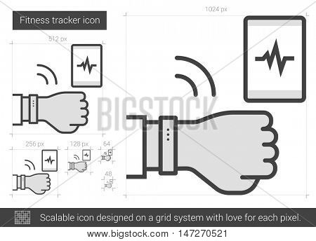 Fitness tracker vector line icon isolated on white background. Fitness tracker line icon for infographic, website or app. Scalable icon designed on a grid system.