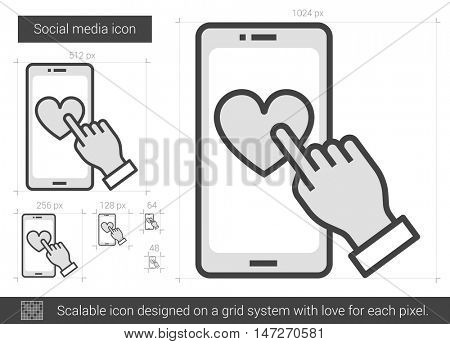 Social media vector line icon isolated on white background. Social media line icon for infographic, website or app. Scalable icon designed on a grid system.