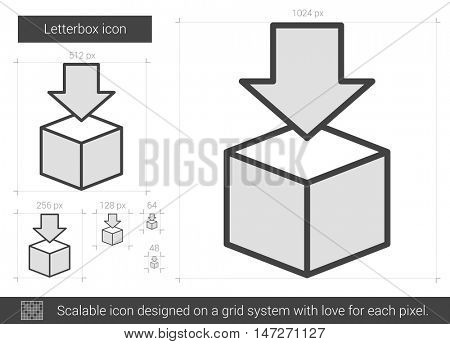 Letterbox vector line icon isolated on white background. Letterbox line icon for infographic, website or app. Scalable icon designed on a grid system.