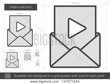 Video mail vector line icon isolated on white background. Video mail line icon for infographic, website or app. Scalable icon designed on a grid system.