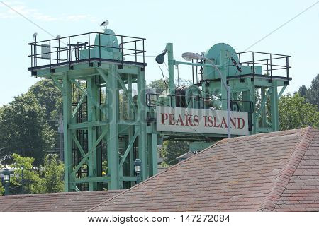 Peak Island, Maine meeting sign at Casco Bay Line or Town Boating Dock