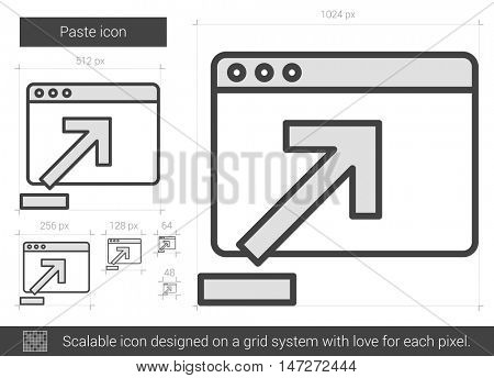 Paste vector line icon isolated on white background. Paste line icon for infographic, website or app. Scalable icon designed on a grid system.