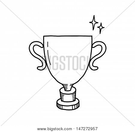 Winner Gold Trophy Doodle. A hand drawn vector doodle illustration of a winner trophy.
