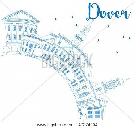 Outline Dover Skyline with Blue Buildings and Copy Space. Business Travel and Tourism Concept with Historic Buildings. Image for Presentation Banner Placard and Web Site.
