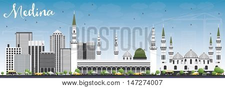 Medina Skyline with Gray Buildings and Blue Sky. Business Travel and Tourism Concept with Historic Buildings. Image for Presentation Banner Placard and Web Site.