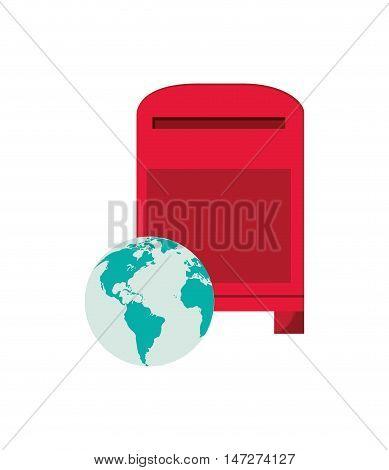 flat design mailbox and  earth globe  icon vector illustration