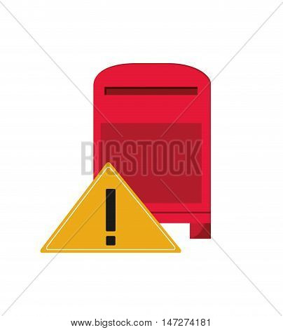 flat design mailbox and warning sign icon vector illustration