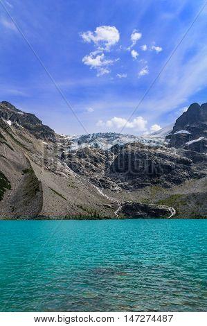 Photo of melting glacier at cloudy summer day.