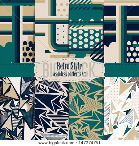 Set of seamless patterns vinage style with lines dots and cicrles.