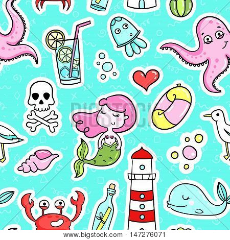Fashion quirky cartoon doodle seamless pattern with cute elements. Vector illustration background. Abstract wallpaper in cartoon comic style of 80s-90s.