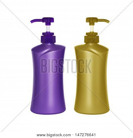 Plastic pump soap bottle without label isolated on white background