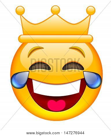 Laughing Face with Crown. Laughing Emoji with Crown. Laughing Smile Emoticon with Crown. Isolated vector illustration on white background