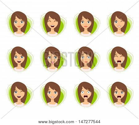 Set of Woman Avatar Expressions with Two Ponytails. Woman Faces.Vector Illustration