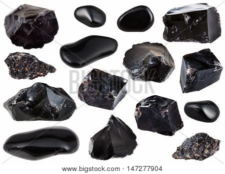 Collection From Specimens Of Black Obsidian