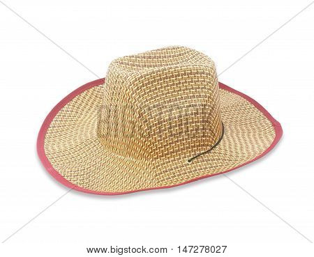 Pretty straw hat isolate on white background
