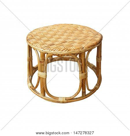 Chairs made of woven rattan on white background