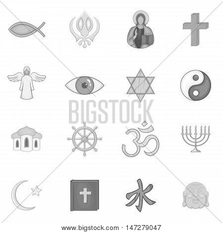 Religion symbols icons set in black monochrome style. World religions set collection vector illustration