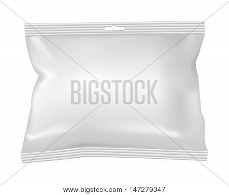 Packaging for snacks food salt sugar and spices. Isolated on a white background.