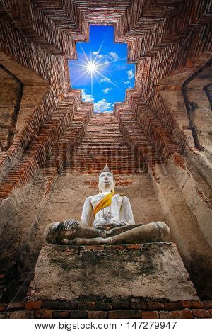 Ancient buddha statue in old temple Ayutthaya Historical national park Thailand