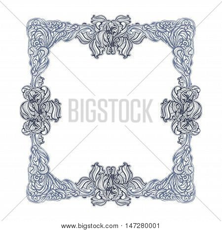 elegant frame with irises in vintage Art Nouveau style