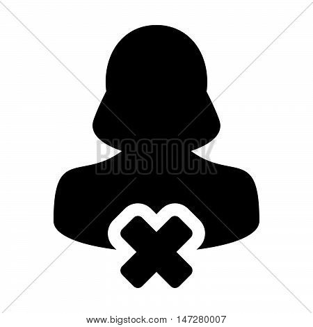 Delete User Icon - Woman, Account, Avatar, Profile Glyph Vector illustration