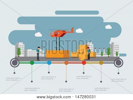 Helicopter shipping. Infographic time line.Vector illustration.