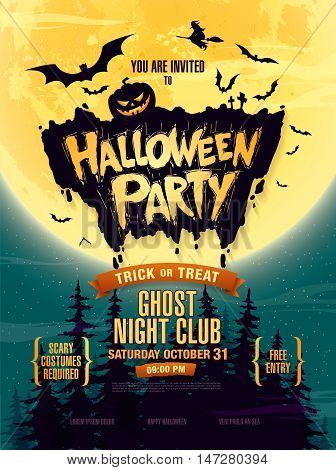 Halloween party. Halloween poster, banner. Vector illustration