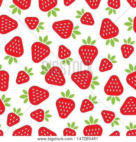 Seamless pattern with red strawberries in a flat style. Vector strawberry isolated on the white background.