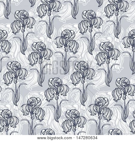 seamless pattern of flowers and leaves of irises in vintage style Art Nouveau