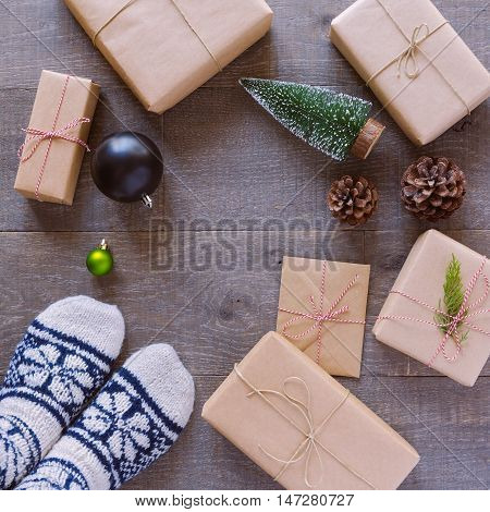 Christmas holiday handmade gift boxes background. View from above