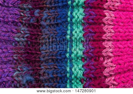 striped colorful wool texture handmade patten closeup macro blue red green red  purple