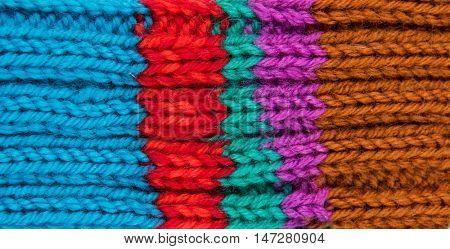 striped colorful wool texture handmade patten closeup macro blue red green yellow purple
