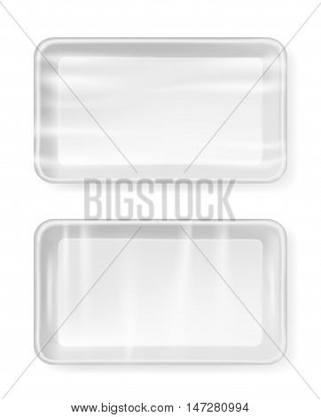 White empty plastic container for food. Packaging for meat fish and vegetables.