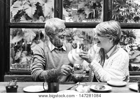 Senior Couple Afternoon Drinking Relax Concept