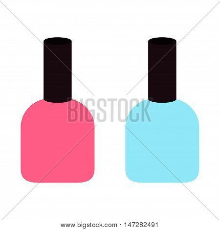 Pink blue nail polish varnish icon set White background Isolated Fashion Template Flat design. Vector illustration