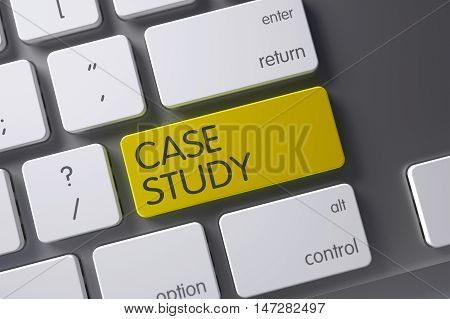 Case Study Concept: Laptop Keyboard with Case Study, Selected Focus on Yellow Enter Button. 3D Illustration.